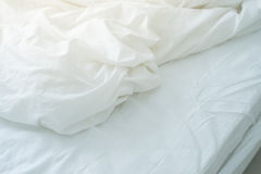 Bed sheet with wrinkle Stock Image