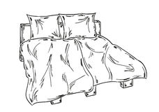 Bed sketch Stock Image