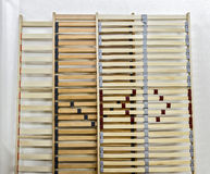 Bed slats. For better quality of sleep use latoflex, wooden, elastic slats for bed Stock Image
