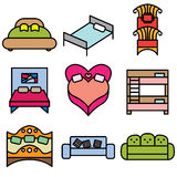Bed and sofa icons Stock Image