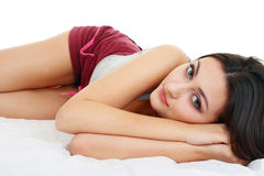 Bed is so soft girl Stock Photo
