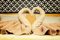 Bed suite decorated with  towels Stock Photo