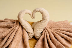 Bed suite decorated with  towels Stock Images