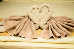 Bed suite decorated with  towels Royalty Free Stock Photos