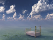 Bed in surreal peaceful landscape. With broken clock of grass Royalty Free Stock Photo