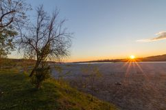 The bed of Tagliamento river. The bed of the Tagliamento river on sunset in autumn from Ragogna Royalty Free Stock Images