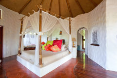 The bed in Thai room stock image