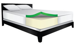 Bed therapeutic mattress. Bed with therapeutic mattress, foam filler. Vector illustration Stock Photo