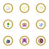 Bed time icons set, cartoon style Stock Image