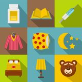 Bed time rest icon set, flat style Royalty Free Stock Photo