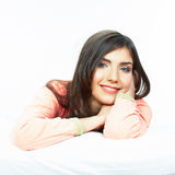 Bed time smiling  woman portrait. Stock Photography
