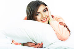 Bed time smiling  woman portrait. Stock Image