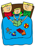 Bed time story. A cute illustration of a mother and father reading a story book to their son Royalty Free Stock Image