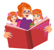 Bed time story. Concept. Mother telling a story to her daughters isolated vector Royalty Free Stock Photography