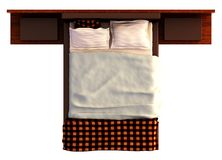 Bed Top View  On White Royalty Free Stock Photography