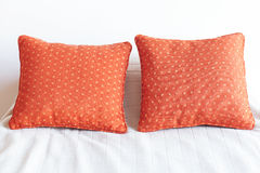 Bed with two pillows Royalty Free Stock Images