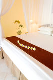 Bed under bed curtains Stock Images