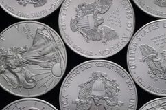 Bed of United States (US) Silver Eagle Coins Royalty Free Stock Photo