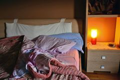 The bed unpacked in the morning when it wakes up. Royalty Free Stock Photo