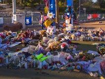 Bed van Bloemen en uitdrukking van deelneming na Verschrikkingsaanval in Las Vegas - LAS VEGAS - NEVADA - OKTOBER 12, 2017 Stock Fotografie