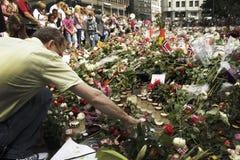 Bed van rozen met de Kathedraal van Oslo Royalty-vrije Stock Foto