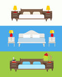 Bed vector set. Modern bedroom interior. Wooden furniture set. B Royalty Free Stock Photo