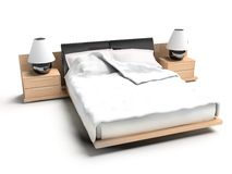 Bed on a white background Royalty Free Stock Photo