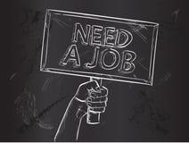 Bedarf Job Sketch auf Tafel stock abbildung
