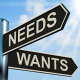 Bedarf wünscht Wegweiser-Durchschnitt-Notwendigkeit und Wunsch stock abbildung