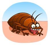 Bedbug on the skin. Cartoon evil bedbug on the human skin Royalty Free Stock Photography