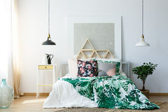 Bedclothes with botanic print Stock Photography