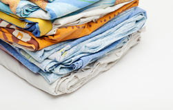 Bedclothes in the stack Royalty Free Stock Photos