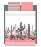 Beddegoedvector met Mexicaans cactussen en bergenlandschap Stock Fotografie