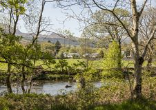 Beddgelert, Wales, the UK - a view through some trees on a sunny day. This image shows a view of Beddgelert, North Wales, the UK. It was taken on a bright Royalty Free Stock Photo