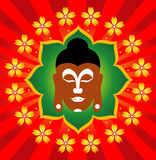 Beddha, Rays and Lotus Flowers vector illustration
