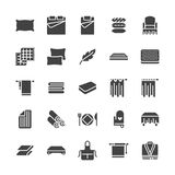 Bedding flat glyph icons. Orthopedics mattresses, bedroom linen, pillows, sheets set, blanket and duvet illustrations. Signs for interior store. Solid Stock Photography