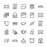 Bedding flat line icons. Orthopedics mattresses, bedroom linen, pillows, sheets set, blanket and duvet illustrations. Thin signs for interior store. Pixel Royalty Free Stock Photography