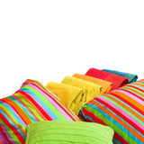 Bedding isolated. Colorful bedding pillows and blankets with straps isolated Royalty Free Stock Photography