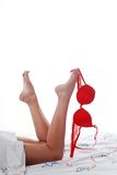 Bedding, legs, bra Royalty Free Stock Photos