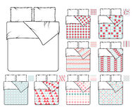 Bedding and linen vector template sample patterns set Stock Images