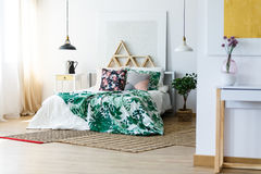 Bedding and modern furniture. Stylish bedding and modern furniture in the bedroom Stock Photos