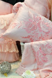 Bedding and pillow. In pink color, shown as comfortable and warm Stock Image