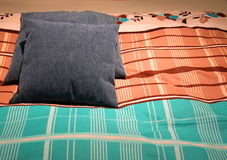 Bedding and pillows. Modern design of bedding and pillows colorful Royalty Free Stock Image