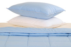 Bedding set. Series... Blue and white bed set Stock Image