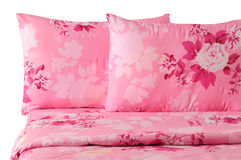 Bedding set. Series... Floral bed set, isolated over white Stock Photos