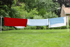 Bedding Sheets Drying Stock Images