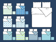 Bedding vector mockup and sample seamless patterns fills Royalty Free Stock Photo