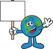Bedecken Sie das Karikatur-Maskottchen-Zeichen mit Erde, das ein Schild anhält Lizenzfreie Stockbilder