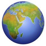 Bedecken Sie das Zeigen von Europa, von Asien und von Afrika mit Erde. Lizenzfreies Stockbild