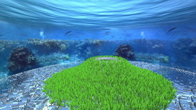 Bedecken Sie den Berg mit Gras, der vorbei durch die verlorene Stadt unter dem Ozean umgeben wird stock abbildung